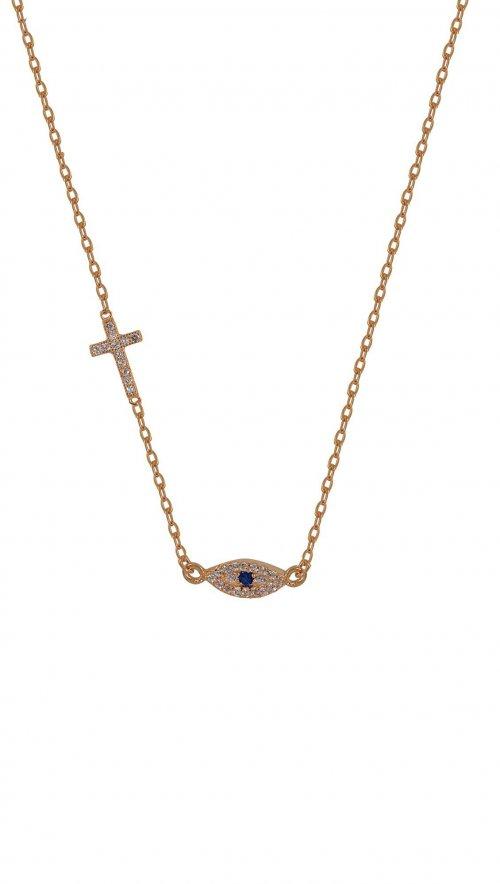 Κολιέ ροζ χρυσό ασήμι 925 ματάκι και σταυρός με ζιργκόν  a9e92542643