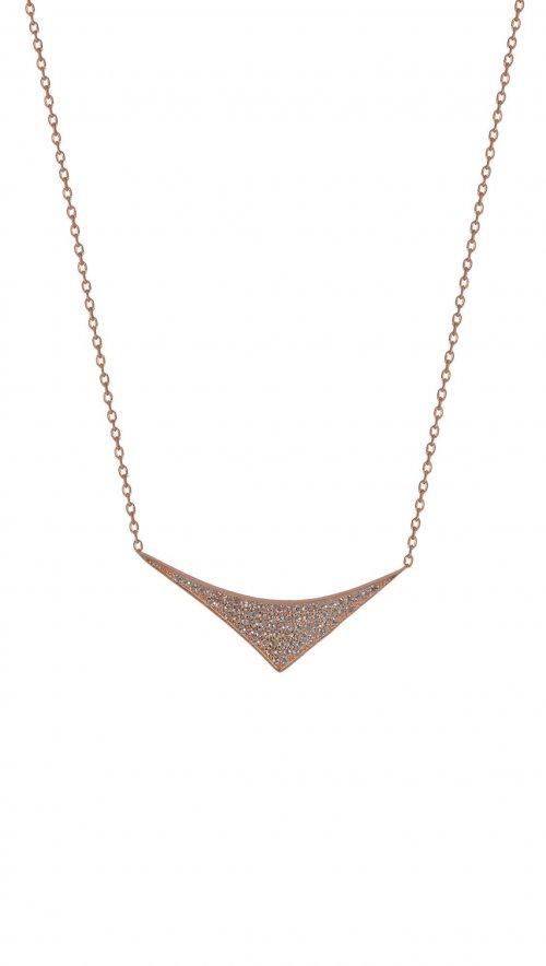 Κολιέ ροζ χρυσό ασήμι 925 τρίγωνο με ζιργκόν  10230372494