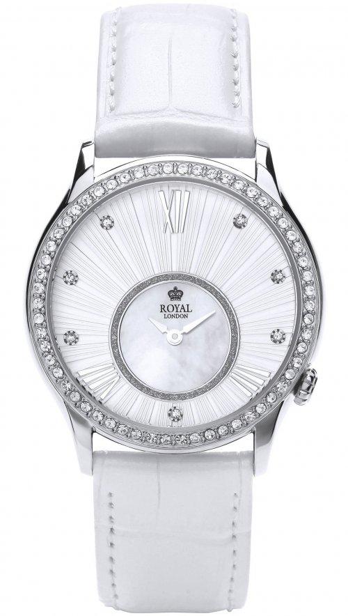 Ρολόι Royal London swarovski με λευκό λουράκι 21284-01  e0ac3cdeee6