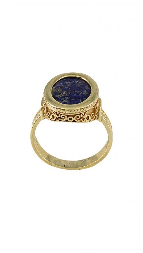 Ανδρικό δαχτυλίδι χρυσό 14 καράτια με μπλε πέτρα λάπις λάζουλις ... f58b4fb4454