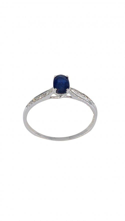 Δαχτυλίδι μονόπετρο λευκόχρυσο 18 καράτια με μπριγιάν 0.06ct και ζαφείρι  0.62ct 5ba65e92864