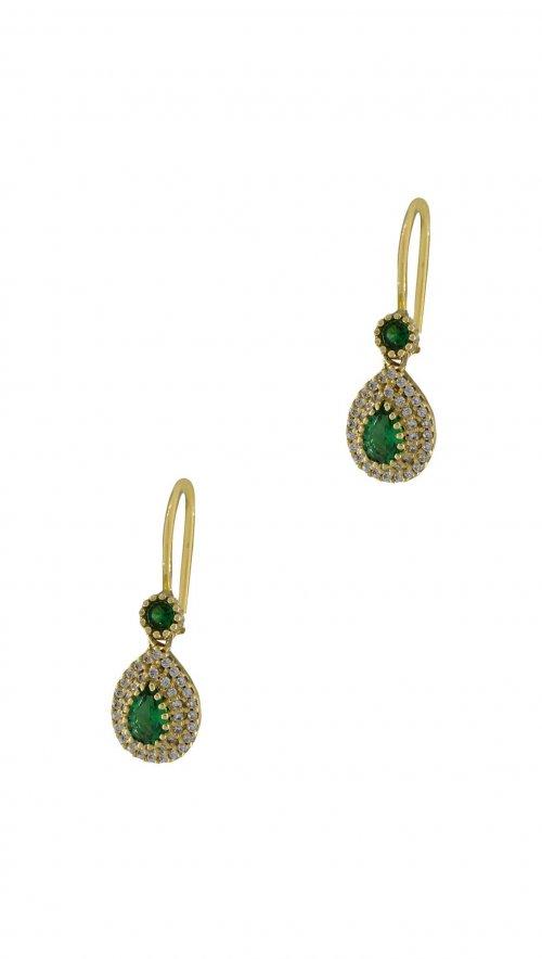 Σκουλαρίκια κρεμαστά χρυσά 14 καράτια δάκρυ με λευκά και πράσινα ζιργκόν f11c64f741b