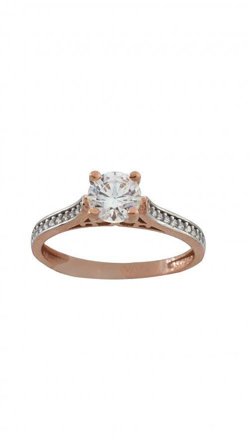 Δαχτυλίδι μονόπετρο ροζ χρυσό 14 καράτια με ζιργκόν swarovski ... 16ec1130aa6