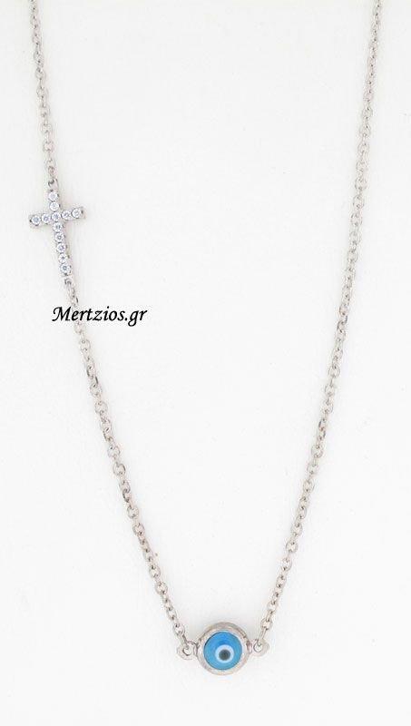 Κολιέ Σταυρός Και Ματάκι Λευκόχρυσο 14 Καράτια (NEW)  c87b00fc215