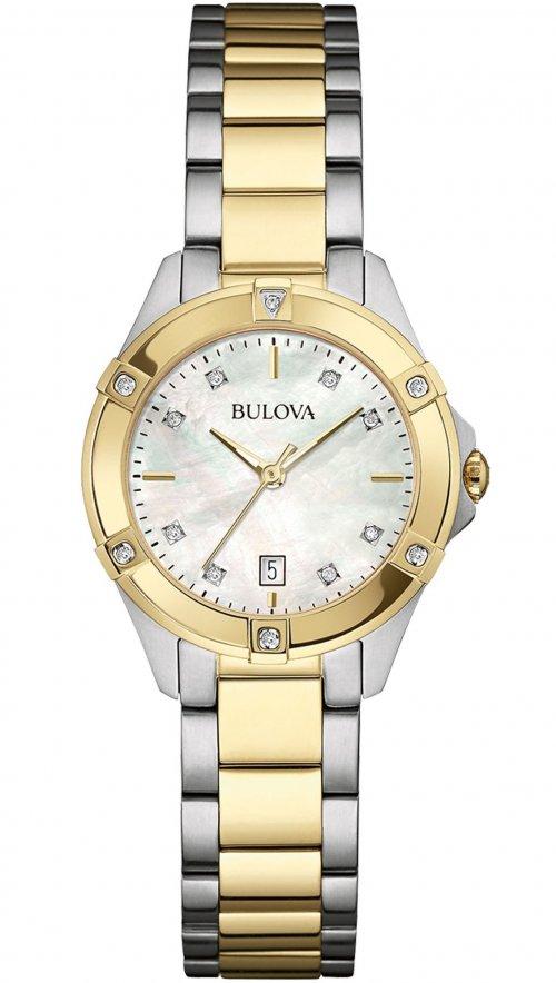 Ρολόι Bulova Diamond ημερομηνίας με ασημί και χρυσό μπρασελέ 98W217 ... 3b6f437eea9