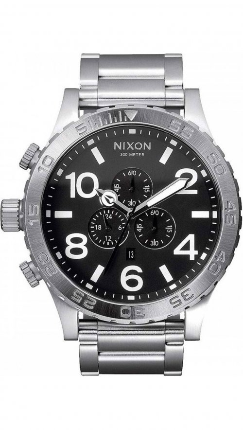 Nixon 51-30 Tide chronograph silver watch A083-000-00