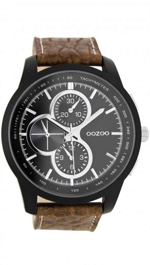 Ρολόι OOZOO Timepieces με καφέ λουράκι και μαύρο καντράν C7826 ... 5a323395872