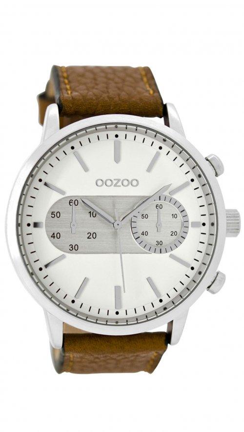 Ρολόι OOZOO με καφέ λουράκι και λευκό καντράν C9055  042b2203e79