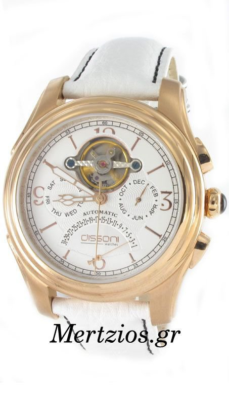 Dissoni White Leather Strap Automatic Rose Watch D668