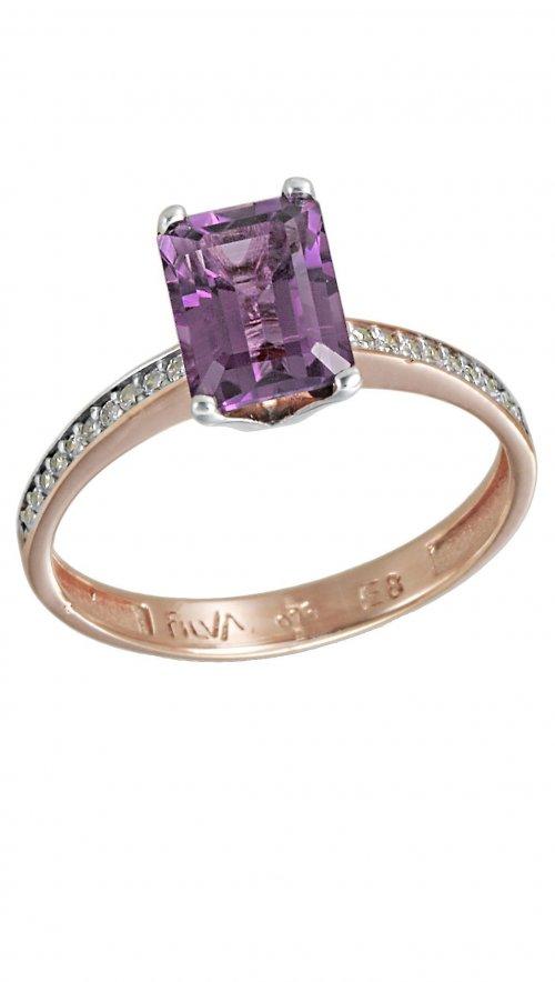 Δαχτυλίδι μονόπετρο ροζ χρυσό 14 καράτια με ορυκτό αμέθυστο swarovski® 1d4f01a8cee