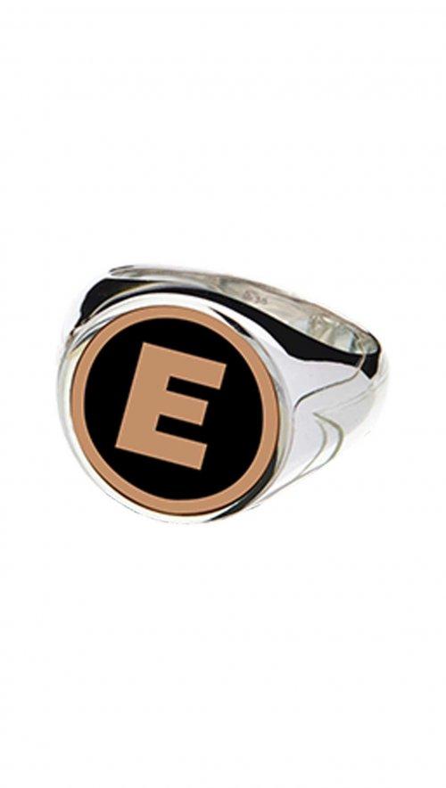 Δαχτυλίδι σεβαλιέ ασήμι 925 με σμάλτο και μονόγραμμα  f73c2254966