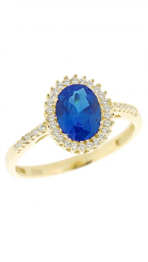 Δαχτυλίδι ροζέτα χρυσό 14 καράτια με ζιργκόν και μπλέ ζαφείρι ... f5f5661d011