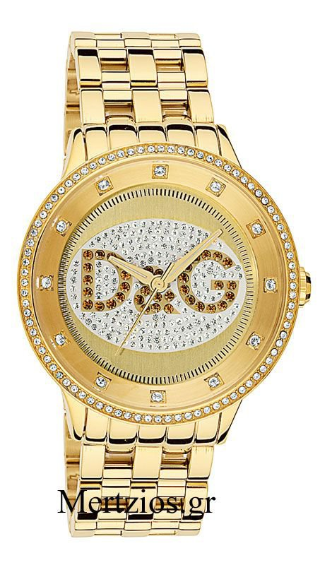Ρολόι Dolce   Gabbana Prime Time με χρυσό μπρασελέ και καφέ λογότυπο DW0379 b390f41ec0f