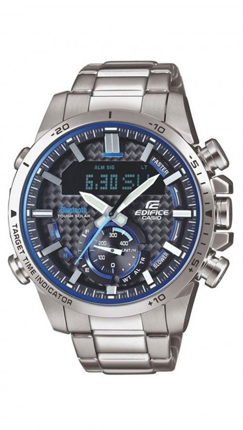 Ηλιακό ρολόι Casio Edifice Bluetooth με ασημί μπρασελέ ECB-800D-1AEF ... b75dcc99a29