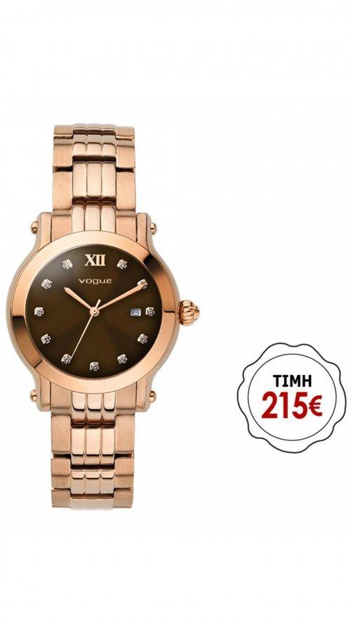 Ρολόι Vogue Grace mini με ρόζ χρυσό μπρασελέ και ημερομηνία 97009.6 ... 80775b94716