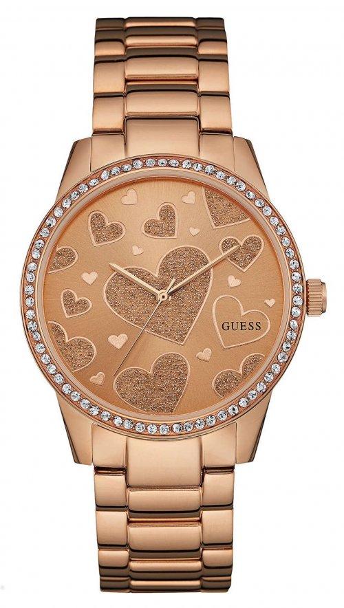 Ρολόι Guess με ρόζ χρυσό μπρασελέ και καρδιές στο καντράν W0699L3 ... 8a2f6accadd
