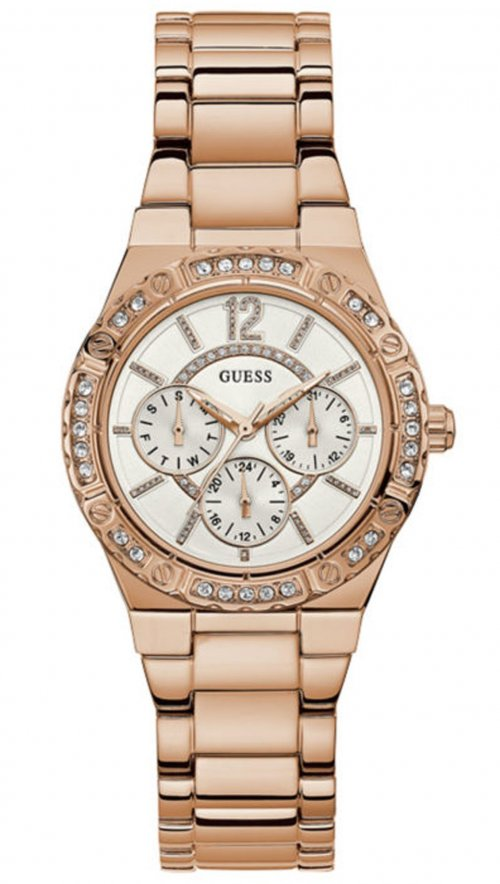 Ρολόι Guess πολλαπλών ενδείξεων με ροζ χρυσό μπρασελέ και κρύσταλλα W0845L3 a5d0dcc6852