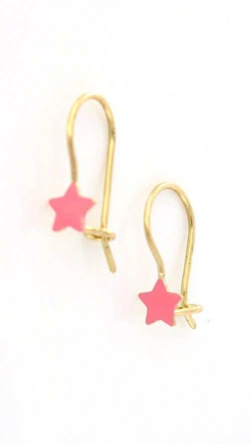 ed15c6588e Παιδικά χρυσά σκουλαρίκια κρεμαστά με ρόζ αστεράκι