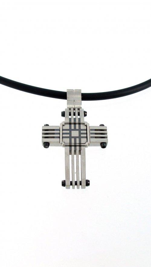Κολιέ σταυρός Visetti από ατσάλι με μαύρο κορδόνι  479749359b0