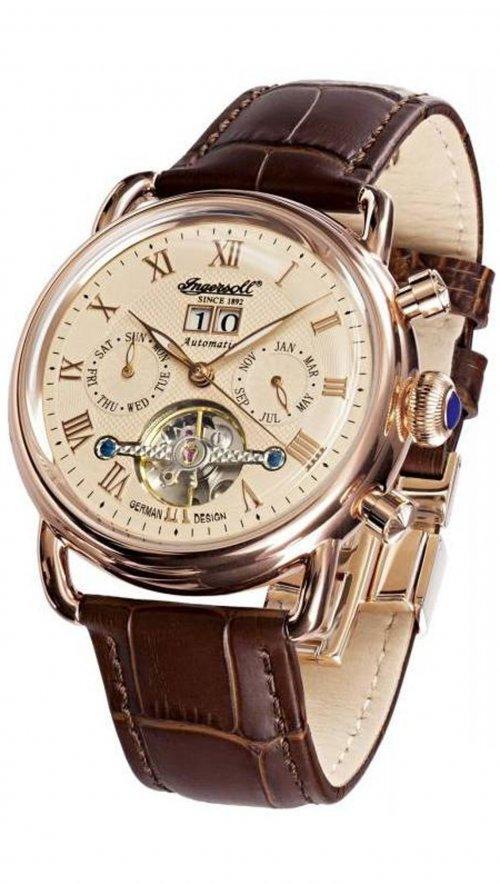 Ρολόι αυτόματο Ingersoll Ellsworth με καφέ λουράκι IN8210RG ... def912e3612