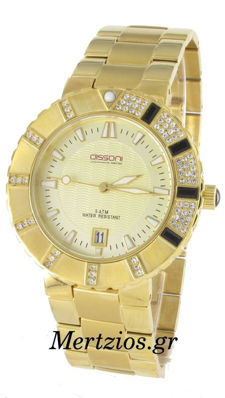 Dissoni Gold Steel Crystal Date Watch K763