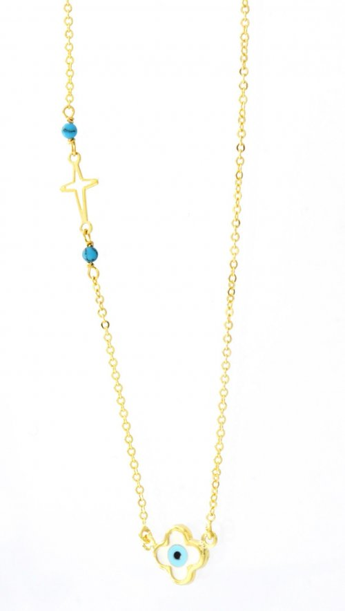 Χρυσό κολιέ με ματάκι φίλντισι και σταυρό  f0b426074a8