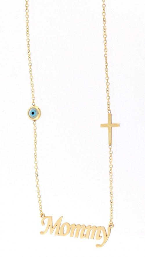 Χρυσό κολιέ Mommy με ματάκι και σταυρό  4f46ec77efb