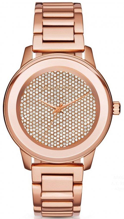 Ρολόι Michael Kors Kinley Pave με ρόζ χρυσό μπρασελέ και swarovski MK6210 f9f1ccb22d4