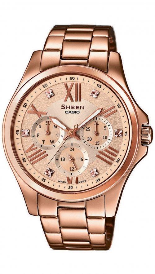 Ρολόι Casio Sheen πολλαπλών ενδέιξεων με ρόζ χρυσό μπρασελέ SHE-3806PG-9AUER 173917f1031