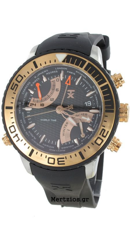 TX TechnoLuxury World Time And Season black watch T3C414