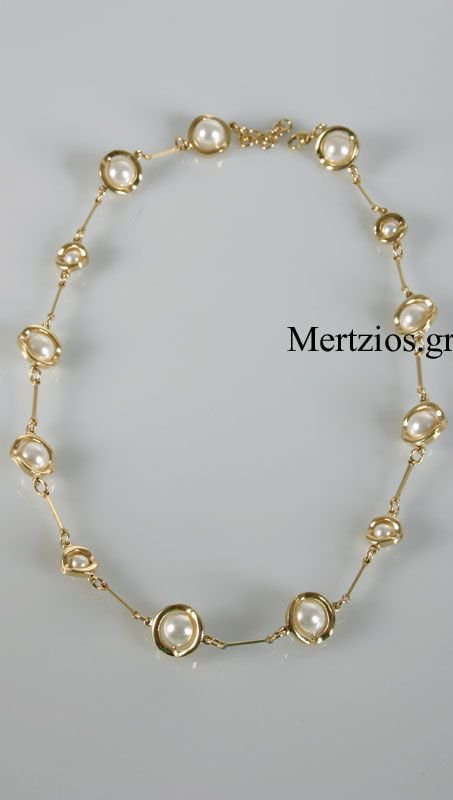 Gold Steel Visetti Pearl Chain