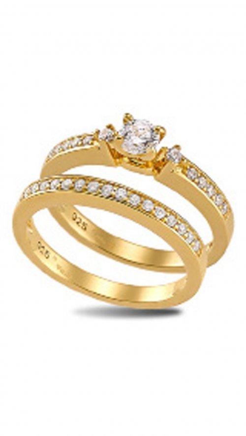 Διπλό δαχτυλίδι Vogue χρυσό από ασήμι 925 με ζιργκόν 535211.1 ... af634b8fe97