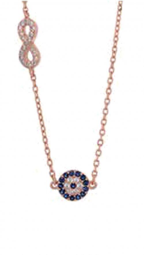 Κολιέ ροζ χρυσό ασήμι 925 με στόχο και άπειρο  b9dcb424938