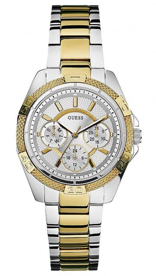 Ρολόι Guess με ασημί και χρυσό μπρασελέ W0235L2  d878e8e88a7