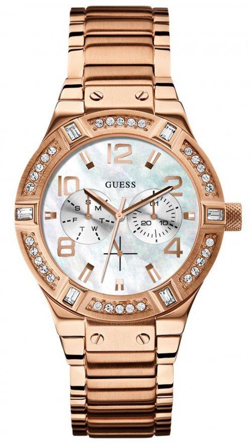 Ρολόι Guess swarovski με ροζ χρυσό μπρασελέ W0290L2  d32e71beba6