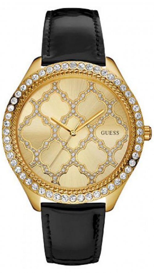 Guess Black Steel Ladies Watch With Crystals W0579l8