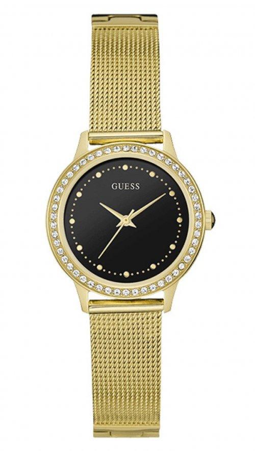 4d06b40cab9 Ρολόι Guess με χρυσό μπρασελέ και μαύρο καντράν W0647L8 | Mertzios.gr