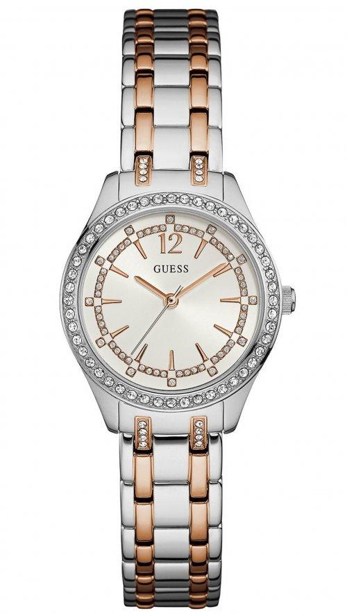 Ρολόι Guess με ασημί και ροζ χρυσό μπρασελέ και κρύσταλλα W0830L1 ... a9b85ff9302