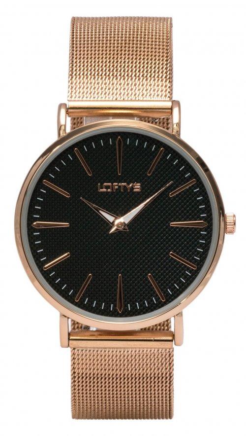 7e16f0272e Ρολόι Loftys Boheme με ρόζ χρυσό μπρασελέ και μαύρο καντράν Y3407-16 ...