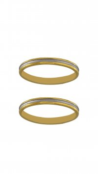 Mertzios.gr Gold pair of wedding rings with whitegold line