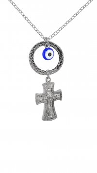 Mertzios.gr Car pendant with cross and eye