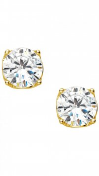 Vogue Vogue Solitaire gold silver 925 earring with zircon 8mm