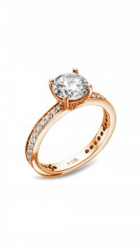 Vogue Vogue Solitaire rosegold silver 925 ring with zircon 6mm