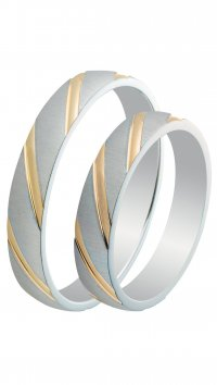 Mertzios.gr Silver 925 wedding rings with gold lines 3.6mm